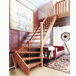 Деревянная межэтажная лестница ЛЕС-07 (поворот 90°)
