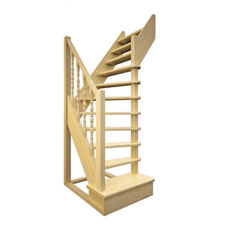 Деревянная межэтажная лестница ЛЕС-91 (поворот 90 градусов)