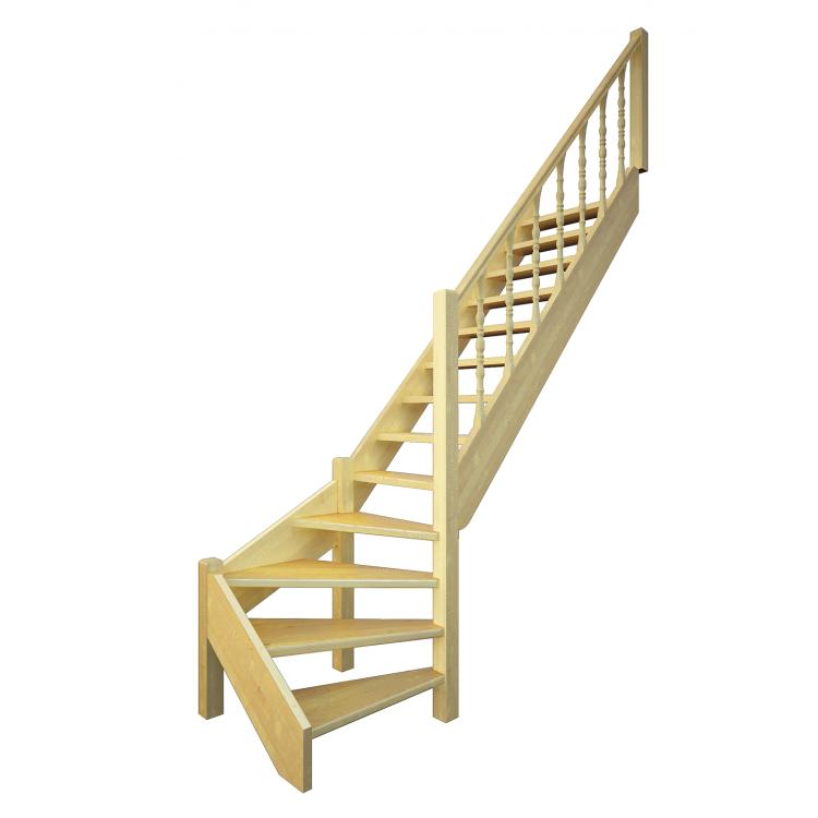 Деревянная межэтажная лестница ЛЕС-07 (поворот 90 градусов)