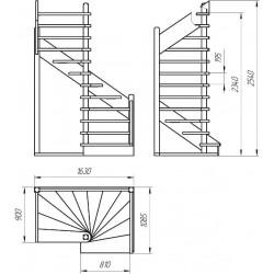 Деревянная межэтажная лестница ЛЕС-01 (поворот 180 градусов)
