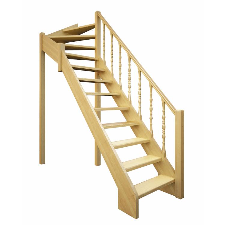 Деревянная межэтажная лестница Лес-715 (поворот 90 градусов)