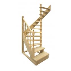 Деревянная межэтажная лестница ЛЕС-03 (поворот 180 градусов)