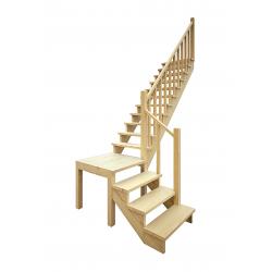 Деревянная межэтажная лестница ЛЕС-08 (поворот 90 градусов)