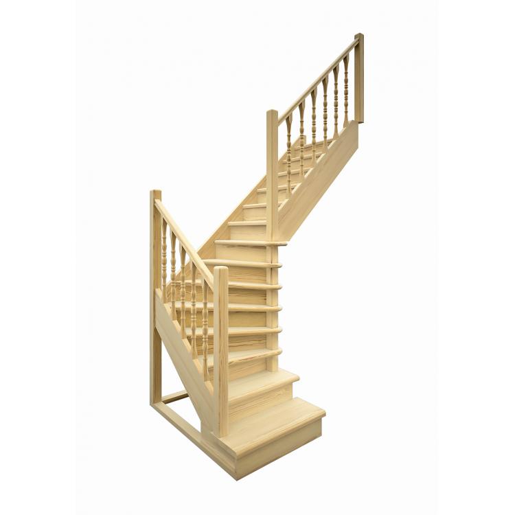 Деревянная межэтажная лестница ЛЕС-02 (поворот 90 градусов)