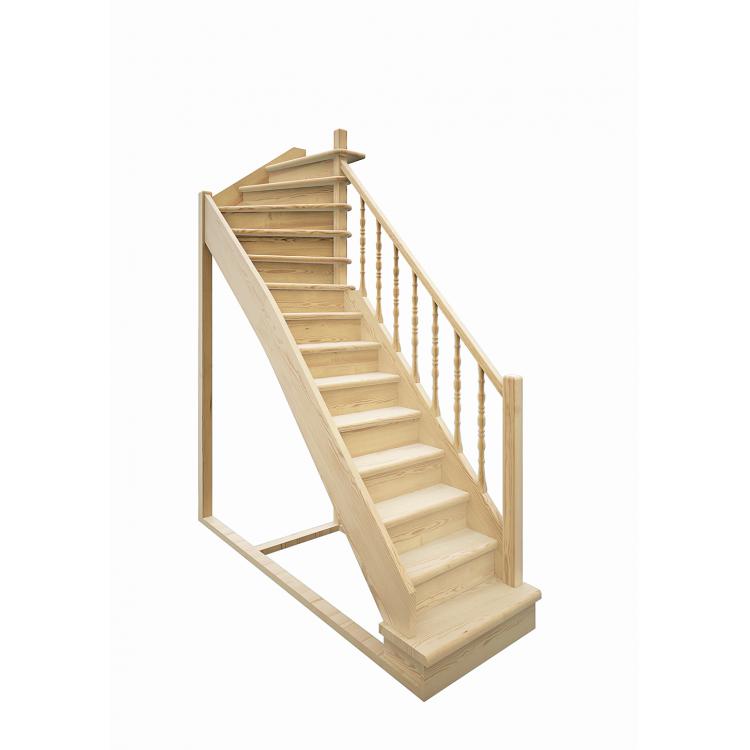 Деревянная межэтажная лестница ЛЕС-215 (поворот 90 градусов)