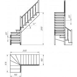 Деревянная межэтажная лестница ЛЕС-09 (поворот 90 градусов)