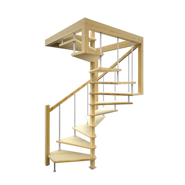 Деревянная лестница ЛЕС-10 (поворот 360 градусов)