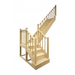Деревянная межэтажная лестница ЛЕС-04 (поворот 90 градусов)