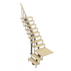 Модульная лестница Статус (с поворотом 90 градусов с площадкой)