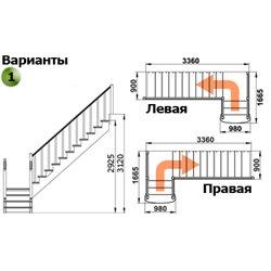 Лестница К-022м Л с подступенками сосна (7 уп)