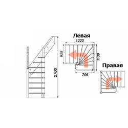 Лестница ЛС-91м П, Базовая, сосна (3 уп) под покраску