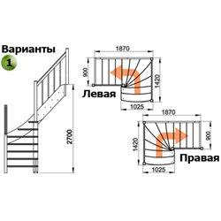 Лестница ЛС-09м/1 Л сосна (3 уп) под покраску