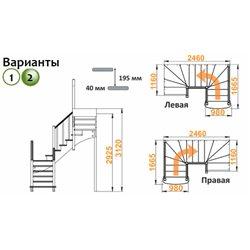 Лестница К-009м/2 П сосна (5 уп)