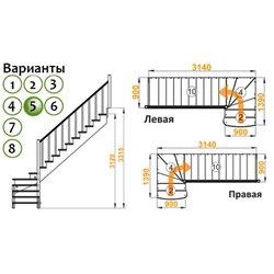Лестница К-001м/5 П c подступенками сосна (6 уп)