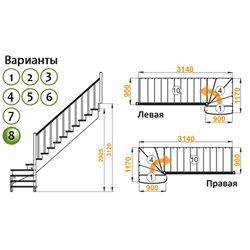 Лестница К-001м/8 Л сосна (5 уп)
