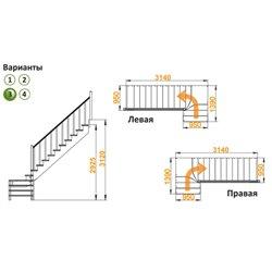 Лестница К-031м/3 П сосна (5 уп.)