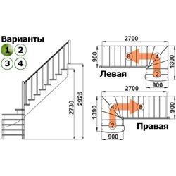 Лестница К-001м/1 Л сосна под покраску (5 уп)