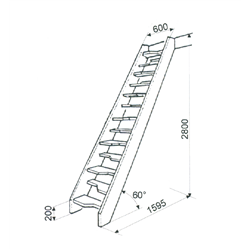 Лестница  М-011у (без поручня), сосна (1 уп)