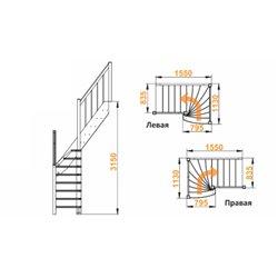 Лестница  ЛС-91м+2 П, сосна  (3 уп) под покраску